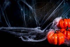 Halloweenowy tło z pajęczynami obrazy royalty free