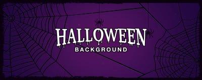 Halloweenowy tło z sieć pająkiem na ciemnym tle Zdjęcie Royalty Free