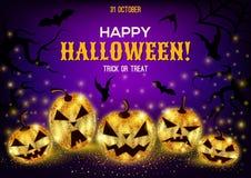 Halloweenowy tło z złocistymi baniami Obrazy Stock