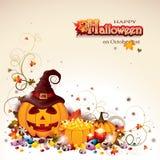 Halloweenowy tło z Jack O ` baniami i lampionem Zdjęcie Stock