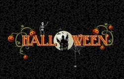 Halloweenowy tekst z księżyc w pełni i nawiedzającą domu EPS10 kartoteką. Zdjęcia Stock