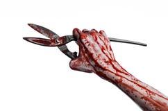 Halloweenowy temat: krwista ręka trzymający dużych starych krwistych nożyce na białym tle zdjęcie stock