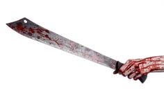 Halloweenowy temat: wręcza trzymać krwistą maczetę na białym tle Obrazy Royalty Free
