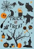 Halloweenowy trikowy lub funda karciany projekt również zwrócić corel ilustracji wektora ilustracja wektor