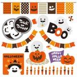 Halloweenowy ustawiający śliczni elementy ilustracji