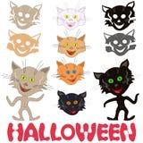Halloweenowy ustawiający śmieszni koty i kocie maski Zdjęcie Royalty Free