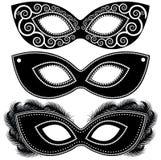 Halloweenowy ustawiający czarny i biały maski Ilustracja Wektor