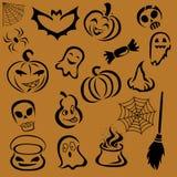 Halloweenowy ustawiający wektorowi wizerunki w czerni na pomarańczowym tle ilustracja wektor