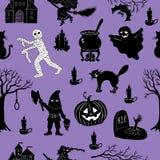 Halloweenowy ustawiający z śmiesznymi charakterami, bezszwowymi Obraz Stock