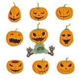Halloweenowy ustawiający z baniami Wektorowa ilustracja na białym tle, ilustracja wektor