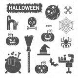 Halloweenowy ustawiający odznaki i ikony Zdjęcie Royalty Free