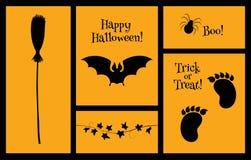 Halloweenowy ustawiający sylwetka nietoperz Zdjęcie Stock