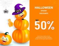 Halloweenowy wakacyjny sprzedaż sztandar, ulotka lub Szczęśliwa pomarańczowa bania z śmieszną potwór twarzą i czarownica kapelusz ilustracji