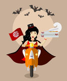 Halloweenowy wampira jedzenie na hulajnoga z pudełkami pizza Zdjęcie Stock
