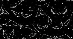 Halloweenowy wektorowy bezszwowy wzór z śmiesznym lataniem uderza Zdjęcie Stock