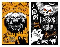 Halloweenowy wektorowy plakatowy horror czaszki duch ilustracja wektor