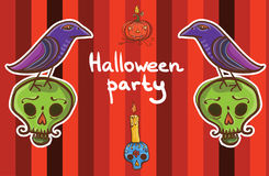 Halloweenowy wektorowy tło szablon z krukiem, bania, czaszka, Zdjęcia Stock