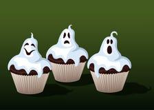 Halloweenowych babeczek Śmieszni duchy Obrazy Stock