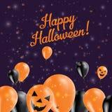 Halloweenowych balonów dolny kartka z pozdrowieniami Obraz Stock