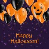 Halloweenowych balonów odgórny kartka z pozdrowieniami Fotografia Royalty Free