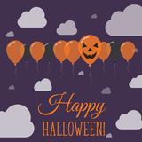 Halloweenowych balonów rzędu płaski kartka z pozdrowieniami Obraz Stock
