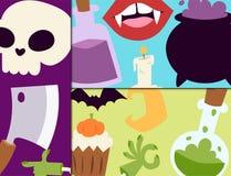 Halloweenowych karnawał kart wektorowa ilustracja z bani i ducha Października straszną jesienią boi się przerażającego tradycyjne Zdjęcia Royalty Free