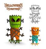 Halloweenowych potworów bagażnika straszna maskowa pokraka EPS10 fi ilustracji