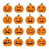 Halloweens dyniowe ikony ustawiać royalty ilustracja