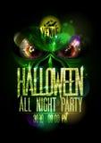 Halloweens Parteiplakat die ganze Nacht mit grünem schlechtem Tier und roten Augen lizenzfreie abbildung