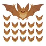 Hallowen character emoticon set. Vector illustration of cute flying bat vampire and it s bat-eared snout with different Royalty Free Stock Images