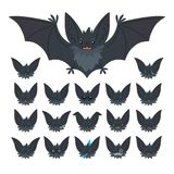 Hallowen character emoticon set. Vector illustration of cute flying grey bat vampire and it s bat-eared snout with Royalty Free Stock Image