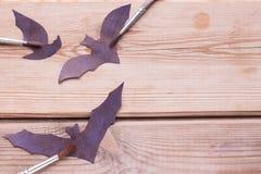 Hallowen copy space. Black pumpkins on a table Stock Images