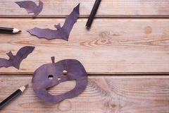 Hallowen copy space. Black pumpkins on a table Stock Image