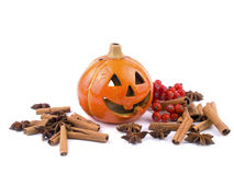 Hallowen decoration. Hallowen pumpkin lantern on white background Royalty Free Stock Photos