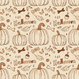 Hallowen hand-drawn seamless pattern. Stock Photography