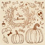 Hallowen hand-drawn set. Autumn template. Royalty Free Stock Photos