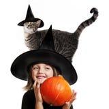 Hallowen lite häxan Fotografering för Bildbyråer