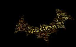 Hallowen nietoperz na czarnym tle: koloru żółtego i pomarańcze słowa Zdjęcia Royalty Free