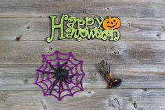 Hallowen Objects on Aged wood Stock Images