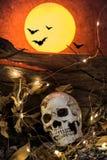 Hallowen och fullmåne Royaltyfria Bilder