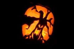 Hallowen pumpkin. A pumpkin carved into a spooky lantern for hallowen Stock Photo