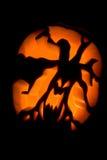 Hallowen pumpkin. A pumpkin carved into a spooky lantern for hallowen Stock Photos