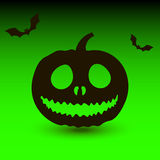 Hallowen pumpkin with bats on green background Royalty Free Stock Images