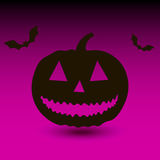 Hallowen pumpkin with bats on purple background Stock Photos