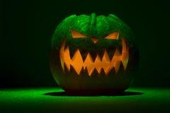 Hallowen pumpkin. Scary dark green halloween pumpkin Royalty Free Stock Photography