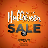 Hallowen Sale vector illustration with Holiday elements on orange background.   Stock Image