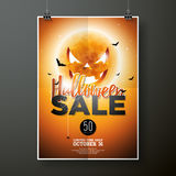 Hallowen Sale vector poster template illustration with moon and bats   Royalty Free Stock Images