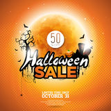 Hallowen Sale vector poster template illustration with moon and bats   Stock Photography