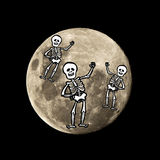 Hallowen skeleton flies in the moon Royalty Free Stock Images