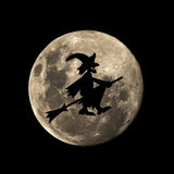 Hallowen witch flies in the moon Stock Photos